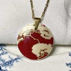 Abstract Red and Gold  Pendant