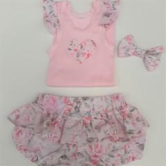 baby girl  floral linen/cotton ruffle  nappy cover flutter applique singlet