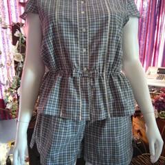 PLUS SIZE TARTAN PJ SET sleepwear/lounging pyjamas  100% cotton size L (18 -20)