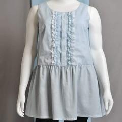 PLUS SIZE women's peplum top in powder blue ramie linen size 16
