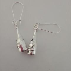 Silver wine bottle earrings