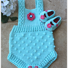 Crochet Cotton Bobble Baby Romper, 3-6 months. Soft Cotton. Mary Jane Booties