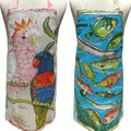Metro Retro Vintage Tea Towel Australian COCKATOOS or FISHES Linen Apron