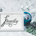 Printable FAMILY Dark Grey Textured Lettering