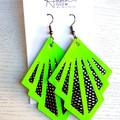 """Deco Glam"", Genuine Leather Earrings, Neon Green/Black/Silver"