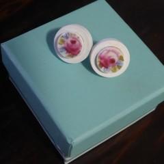 Pink Floral Broken China Wood Bezel Stud Earrings #083