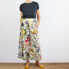 Art Deco Floral  Cropped Wide Leg Cotton Canvas Pants