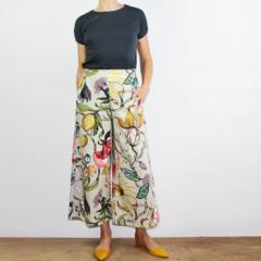 Art Deco Floral  Cropped Wide Leg Cotton Canvas Pants