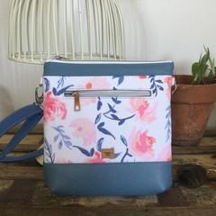 Jasmine Crossbody Bag - Blue & Pink Floral/Blue base