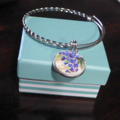 Blue Floral Broken China Adjustable Bracelet  #078
