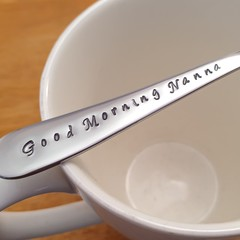 Good Morning Nanna,Hand Stamped Spoon,Mothers Day,  grandma,grannie,grandmother