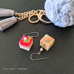 Cube Cake Dangle Earrings - Bright & Colourful food jewellery
