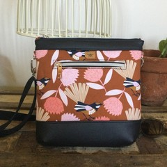 Jasmine Crossbody Bag - Pink & Tan with Willy Wagtails/Tan base