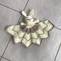 Bunny Lovey, Cuddly bunny, Crochet, Comforter, Security Blanket,Baby Shower
