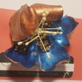 Stunning brooch No.7 Old gold and blue, recycled soft drink bottle,