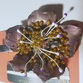 Stunning brooch No.2 Gold and purple, recycled soft drink bottle, one off design