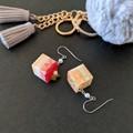 Cube Cake Dangle Earrings - Bright & Colourful food jewellery