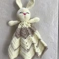 Bunny Lovey, Cuddly bunny, Crochet, Comforter, Security Blanket