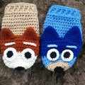 Blue & red dog hand glove puppets (pair)