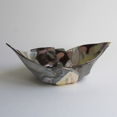 Small Marbled Origami Boat Bowl