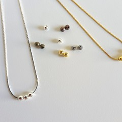 Minimalist Small metal ball bead floating necklace , Silver Gold Bronze Black