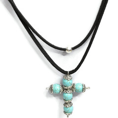 Turquoise Cross Necklace with Faux Black Suede for Women
