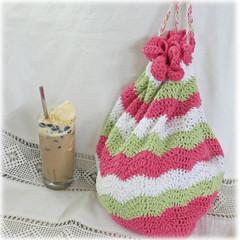 Project bag or beach bag cotton, crochet,