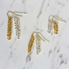 Long / Short Dainty Minimal beaded anxiety dangling earrings , Gold Silver