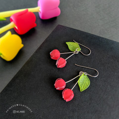 Cherry Duo Drop Earrrings (Red) - Handmade Kawaii Fruit