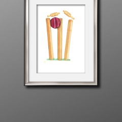 Cricket stumps A3 Print