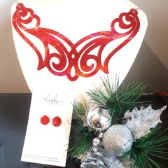 Festive Red, Necklace and Earring Set , Genuine Leather