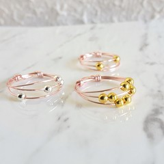 Anxiety thin 3 Line Rose gold wire ring , Minimal Stacking Thumb Pinky Midi ring