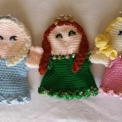 Princess hand puppet. Blue, pink or green glove puppet. Handmade crochet.