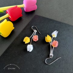 Tulip Trio Earrings (Orange Yellow White) - cute flower dangle earrings