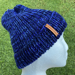 Blue  men's or ladies knitted winter beanie