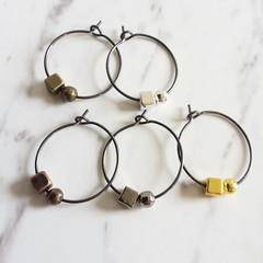 Minimal Mini metal cube & ball hoop earrings , Silver Gold Bronze Brown Black