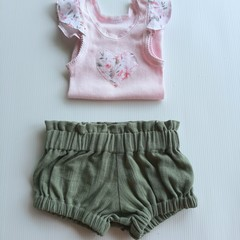 baby girl sage crinkle cotton bloomers and applique flutter sleeve singlet