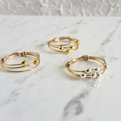 Anxiety thin 3 Line Gold wire ring , Minimal Stacking Thumb Pinky Midi ring