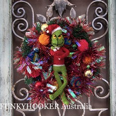Grinch Christmas Wreath Handmade Christmas Decor - Red Tinsel