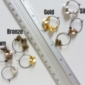 Unique Mini Metal Ball & Wave disc hoop earrings , Gold Silver Bronze Brown