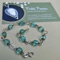 Silver and Glass Bracelet - Aqua Teardrop Loops
