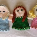 Princess hand puppet. Blue, pink or green glove puppet. Handmade crochet.