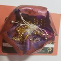 Stunning brooch N9  Rust and purple flower, with gold beads