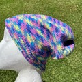 Knitted rainbow slouch beanie vegan pink fluoro slouchy