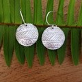 Recycled Silver 'Aztec' style textured earrings