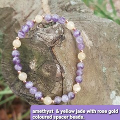 Amethyst & Yellow Jade beaded bracelet