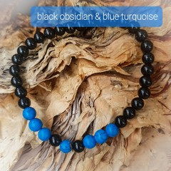 Black Obsidian  & Blue Turquoise beaded  bracelet