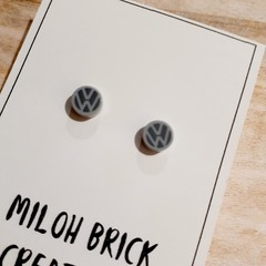 TEENY - Round Picture Brick Stud Earrings