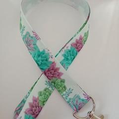 Cactus / succulent print lanyard / ID holder / badge holder
