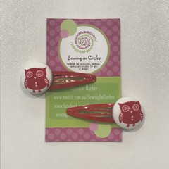 Red owl hair clips